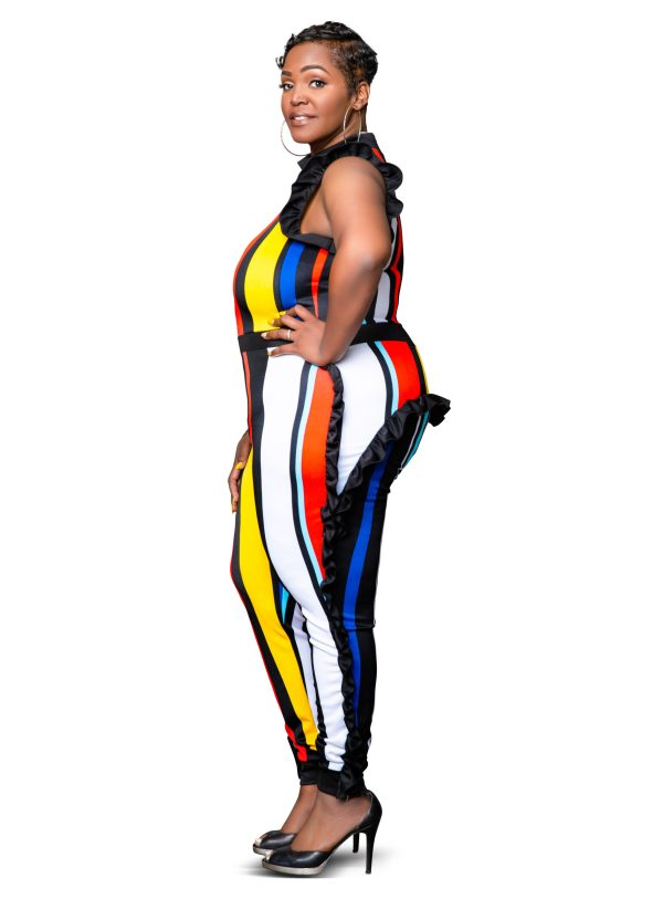 Corlynne Curvy Size Color Block Stripe Pattern Jumpsuit