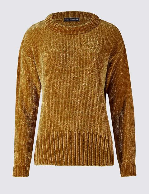 marks-spencer-Dark-Gold-Chenille-Round-Neck-Jumper