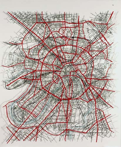 Moscow Duralar, enamel paint, pins, 2006