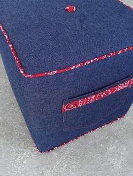 Blue denim pouf with bandana piping