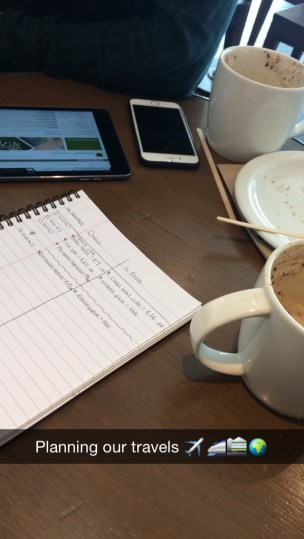 Planning our travels over coffee