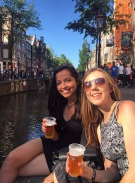 Sitting out on the Red Light District drinking Heineken in the sun