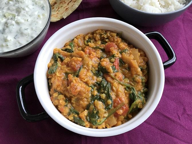 Indiase dahl, heerlijk met basmatirijst en naanbrood