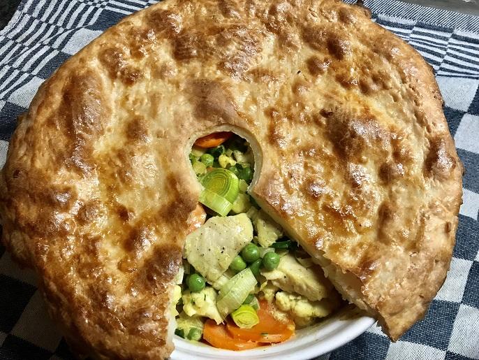 Romige kip en groenten pie (hartige taart)