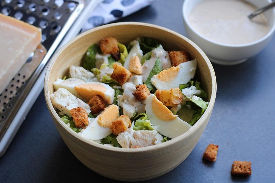 Caesarsalade, makkelijk, snel en glutenvrij