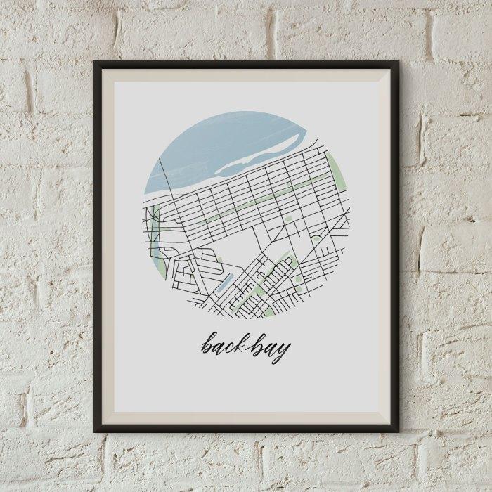 Back Bay, Boston Map Print framed on a white brick wall