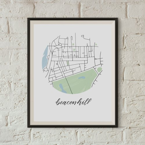 Beacon Hill, Boston Map Print framed on a white brick wall