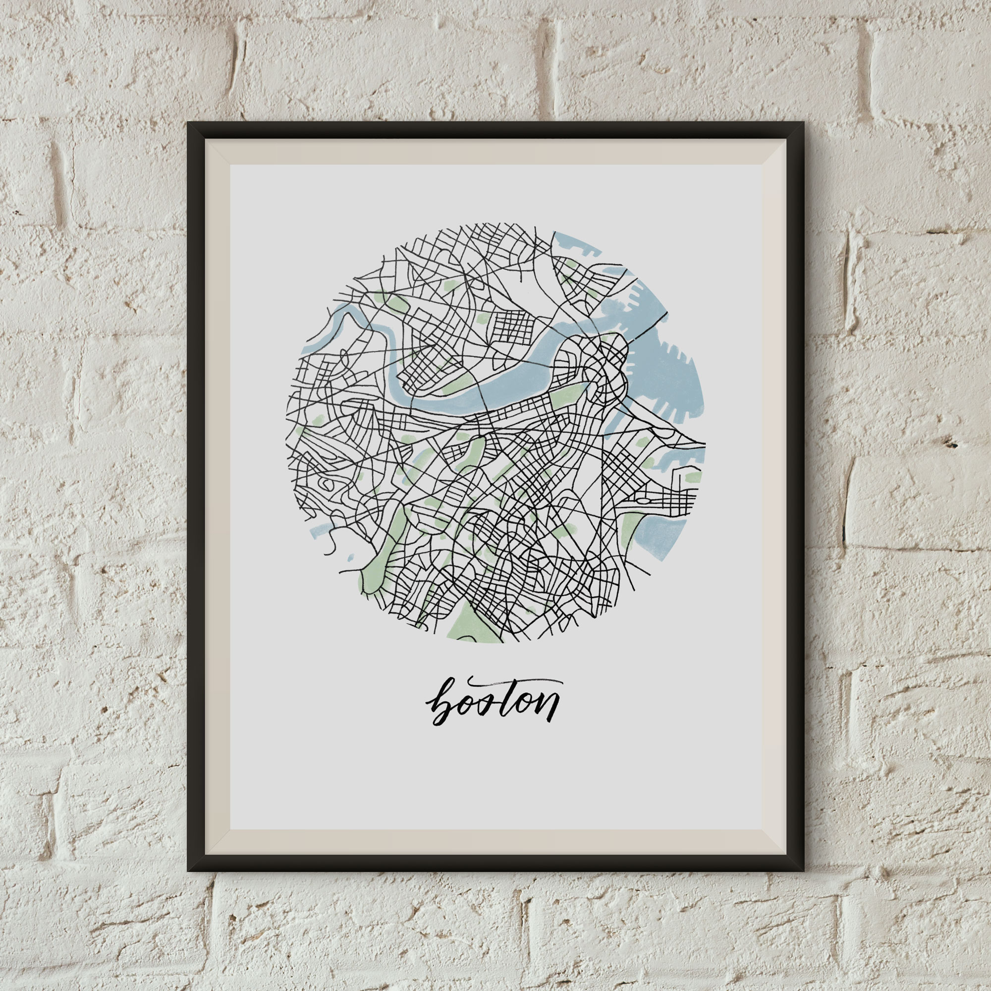Boston Map Print framed on a white brick wall