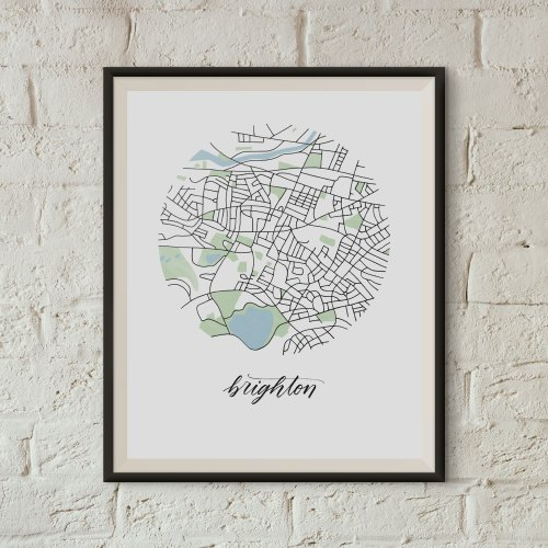 Brighton, Boston Map Print framed on a white brick wall