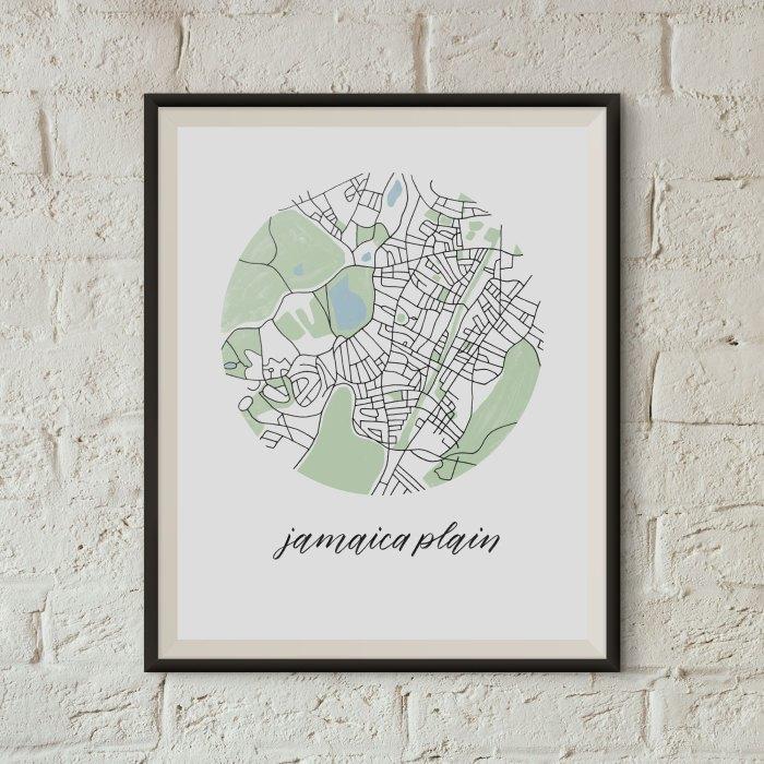 Jamaica Plain, Boston Map Print framed on a white brick wall