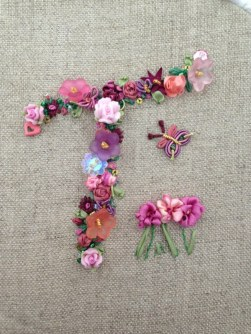 Ribbon and bead work embellished monogram by Tamara Munro 2013