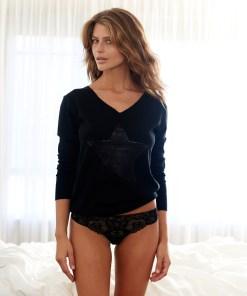 Silk Cashmere sequin star sweater black