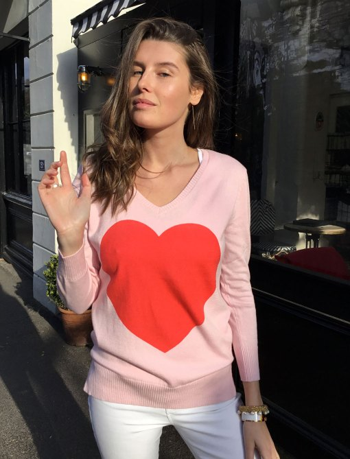 cotton cashmere heart sweater