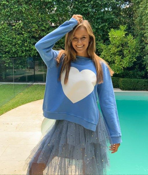 zip sweater blue heart