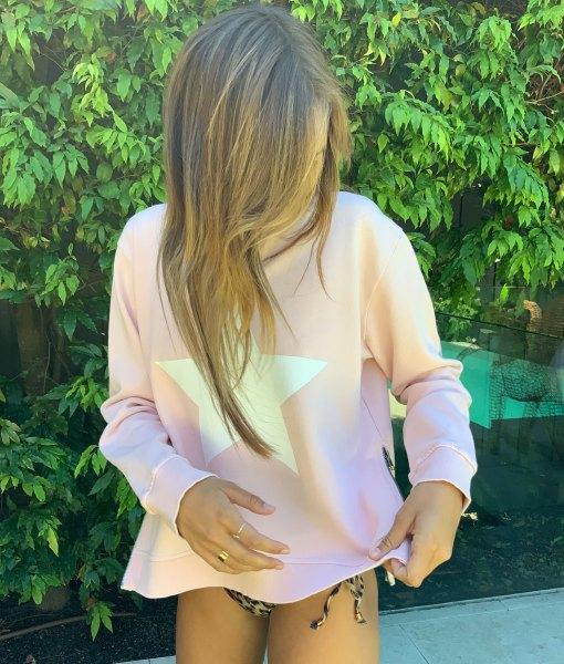 zip star pink sweater