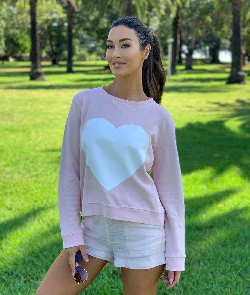zip sweater heart pink