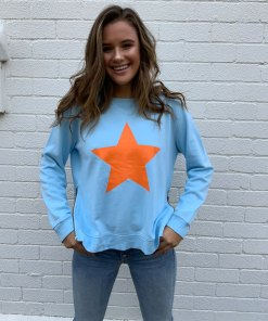 blue sweater orange star