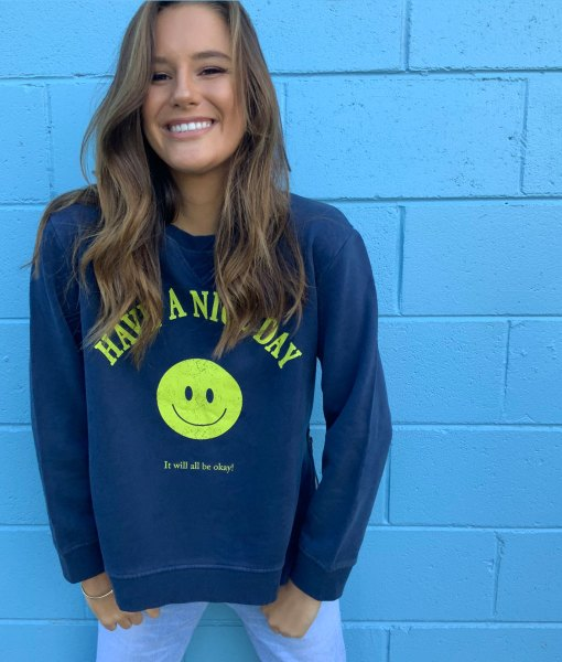 navy have a nice day sweater