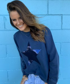 zip sweater navy sequin star