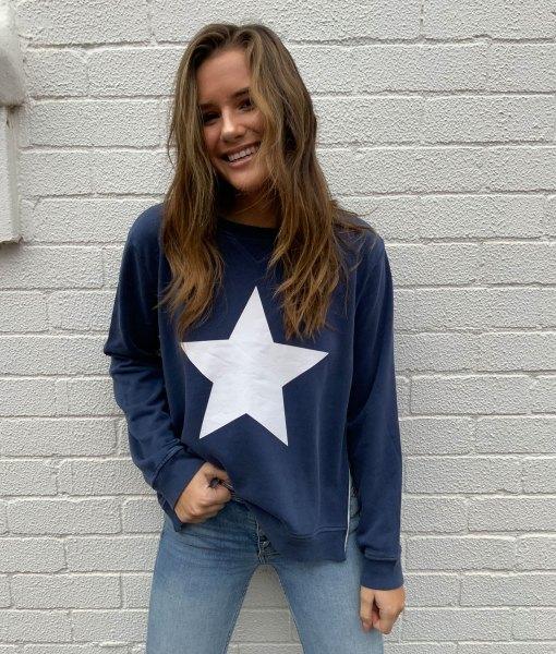 navy sweater white star