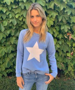 blue sweater white star