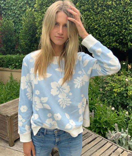 long sleeve hibiscus sweater