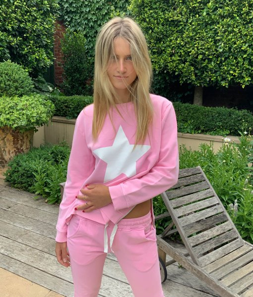 lolly pink white star sweater