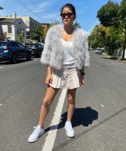 silver turkey feather jacket