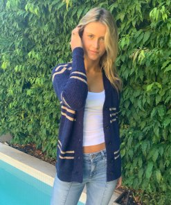 short mohair cardigan navy