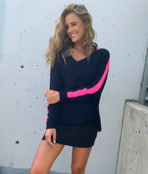 navy & pink cashmere sweater