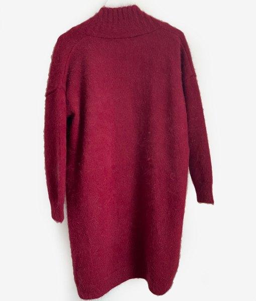 red angora cardigan