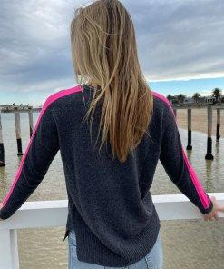 Charcoal pink stripe sweater