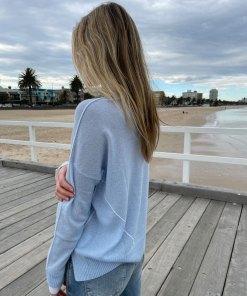 baby blue & cream contrast stitch sweater