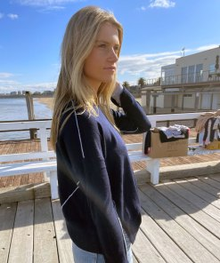 navy contrast stitch sweater