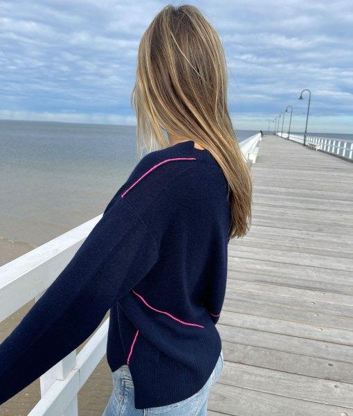 Navy pink contrast stitch sweater