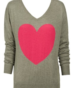 khaki with berry heart sweater