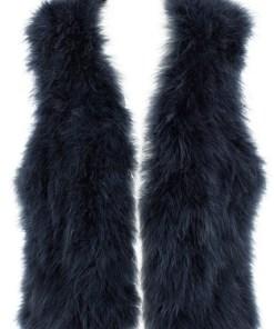 navy feather vest