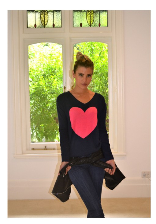 Navy With Watermelon Heart Sweater