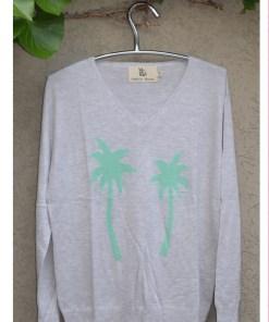 grey with spearmint palm sweater