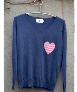 Denim Small striped heart sweater