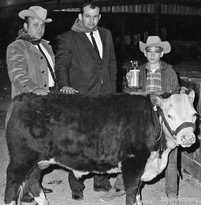 March 28, 1968, Herald-Zeitung: High Bidder on the medium weight champion steer was A&P Food Store, who paid a fat 33 cents a pound for Darrell Moeller's steer. Shown with their buy are John Whitworth, local A&P manager, left, and Lewis Newell, A&P meat supervisor from Austin. Darrell holds the trophy his steer won.