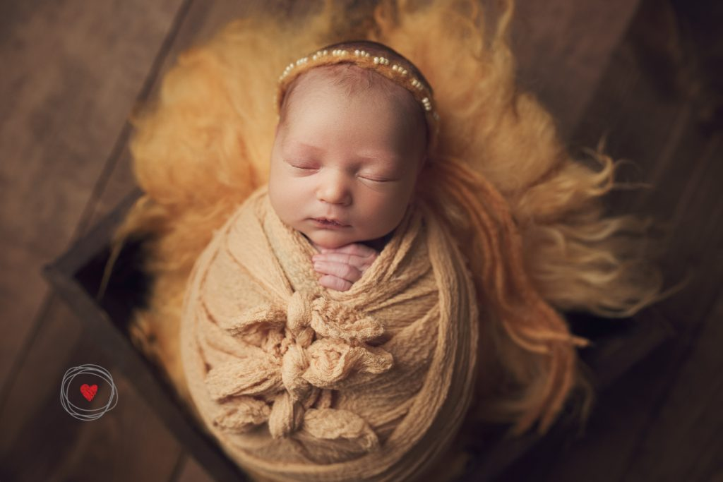 Newborn photographer Victoria BC baby girl wrapped in yellow with adorable headband