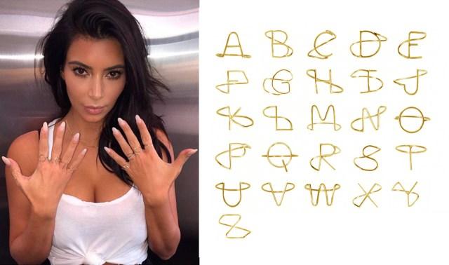 Kim Kardashian's Alphabet Rings