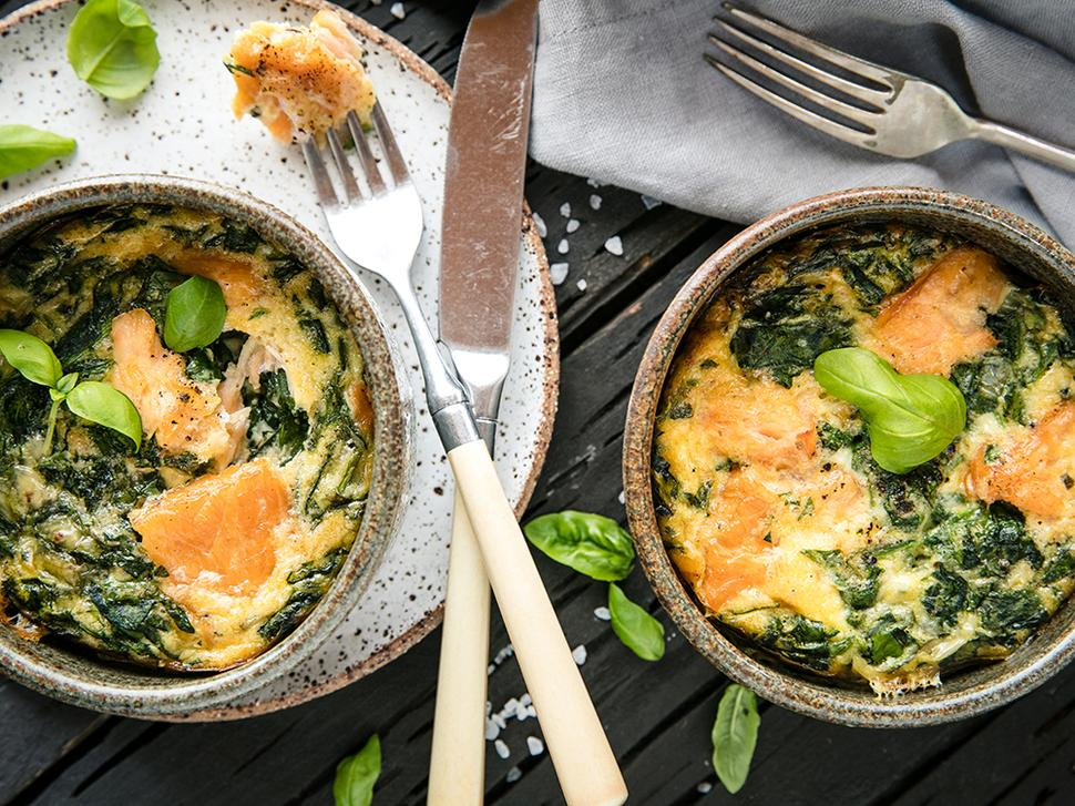 Smoked Salmon, Feta and Spinach Frittata