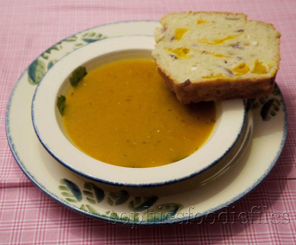 Roasted pumpkin, thyme & chorizo soup served with a home- made savoury pumpkin & feta bread! (1/3)