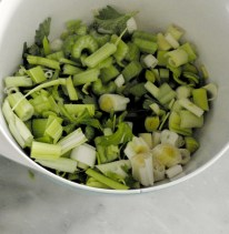 cut up celery & leek