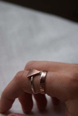 Silver and copper rings