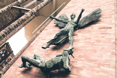 Statue of St Michael and the Devil outside the new Coventry Cathedral