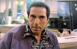 Richie Aprile giving an angry look in Full Leather Jacket