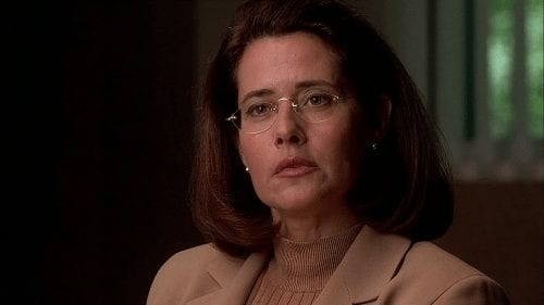 Dr. Melfi in her office talking to Tony Soprano